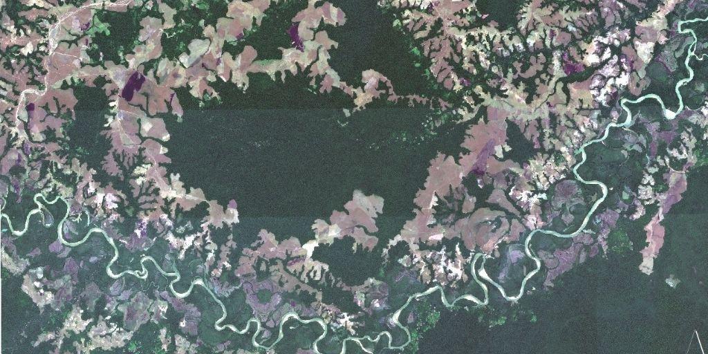 En la mitad del departamento de Vichada, un meteorito originó un cráter con más de 30 kilómetros de diámetro. Foto: imagen satelital.