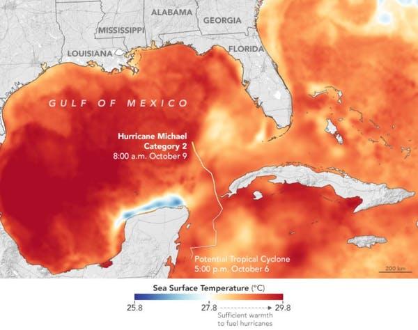 El agua caliente ayudó al huracán Michael a convertirse en una tormenta enorme y destructiva en 2018. Observatorio de la Tierra de la NASA