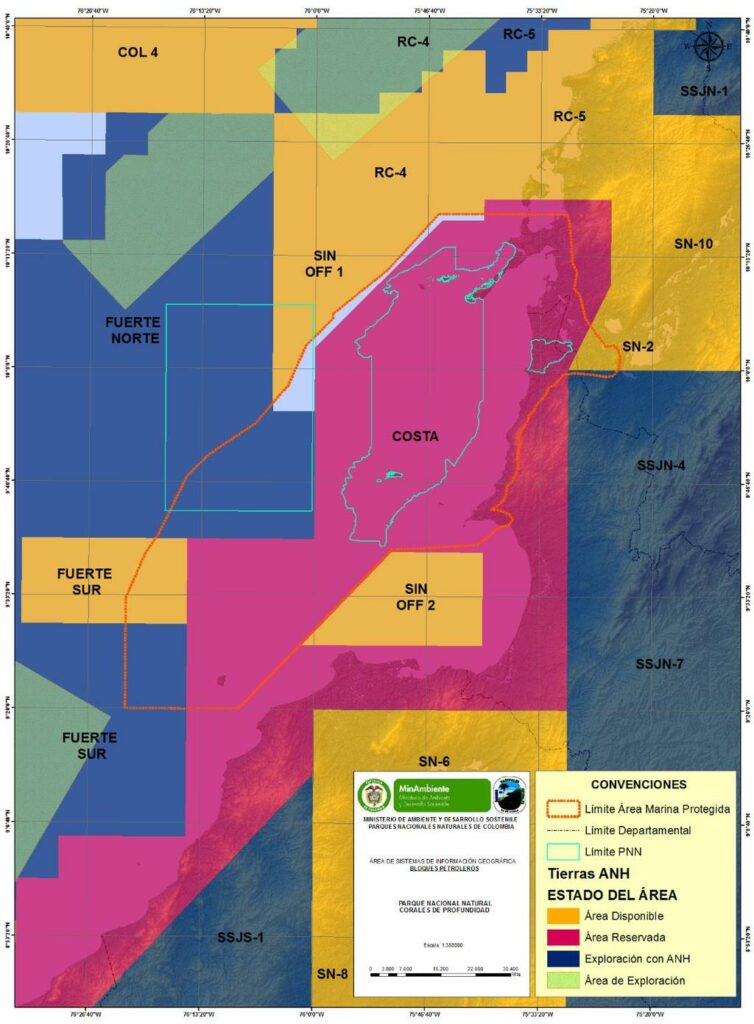 Bloques de exploración y explotación petrolera cercanos al PNNCPR.